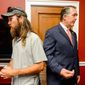 Jase Robertson, left, of the television show 'Duck Dynasty,' was on the Hill with his daughter Mia to visit with Rep. Frank. Both Rep. Frank and Mia have had cleft palate surgery.  (Andrew Harnik/The Washington Times)