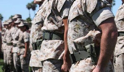 Marines of 1st Marine Division standing in formation during a change of command ceremony at Camp Pendleton, Calif. (Lance Cpl. Tyler Reiriz/Marine Corps)