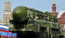 ** FILE ** A Russian truck-mounted Topol intercontinental ballistic missile is showcased during Moscow's annual Victory Day parade in Red Square. (Associated Press)