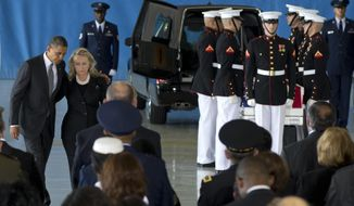 President Barack Obama and Secretary of State Hillary Rodham Clinton walk back to their seats during the Transfer of Remains Ceremony at Andrews Air Force Base, Md., marking the return to the United States of the remains of the four Americans in Benghazi, Libya. Newly revealed testimony from top military commanders involved in the U.S. response to the Benghazi attacks suggests that the perpetrators of a second, dawn attack on a CIA complex probably were different from those who penetrated the U.S. diplomatic mission the evening before and set it ablaze, killing Ambassador Chris Stevens and another American. The second attack, which killed two security contractors, showed clear military training, retired Gen. Carter Ham told Congress in closed-door testimony. (AP Photo/Carolyn Kaster)