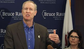 FILE - In this June 12, 2014 file photo, Illinois GOP gubernatorial candidate Bruce Rauner speaks at a news conference accompanied by his running mate Evelyn Sanguinetti in Chicago. Rauner says he'll release his 2013 income tax returns once they're ready. A Rauner spokesman said Rauner got a six-month extension of the April 15 filing deadline and that he will make his returns public before the Nov. 4 election. Democratic Gov. Pat Quinn's campaign has called on Rauner to release his 2013 returns and more information about prior years as the two face off in a highly competitive race. (AP Photo/M. Spencer Green, File)