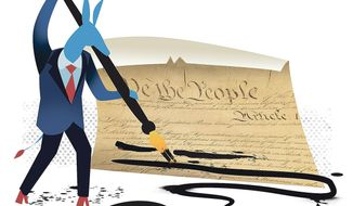 Illustration on Democrat attacks on the First Amendment by Linas Garsys/The Washington Times