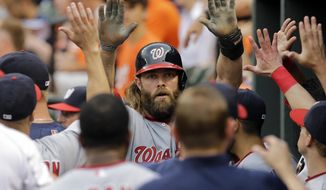 Washington Nationals' Jayson Werth high-fives teammates in the dugout after scoring on a single by Adam LaRoche in the first inning of an interleague baseball game against the Baltimore Orioles, Wednesday, July 9, 2014, in Baltimore. (AP Photo/Patrick Semansky)