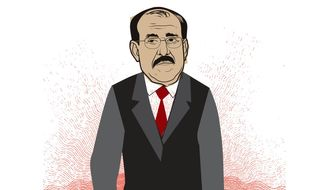 Illustration on President al-Maliki's liabilities as leader of Iraq by Linas Garsys/The Washington Times