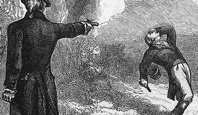 Illustration of Aaron Burr shooting Alexander Hamilton during their duel in 1804