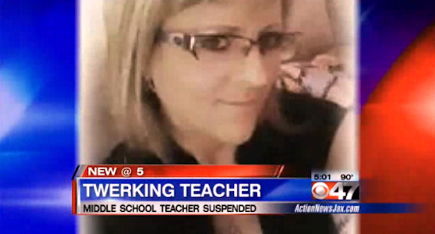 Courtney Spruill, a middle school teacher in Jacksonville, Florida, has been suspended for 15 days after she was accused of receiving a lap dance from a student and twerking in front of others at a school-sponsored soccer team party. (WPTV)