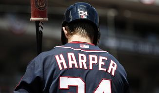Washington Nationals left fielder Bryce Harper (34) prepares to bat during a baseball game against the Chicago Cubs at Nationals Park, Friday, July 4, 2014, in Washington. (AP Photo/Alex Brandon)