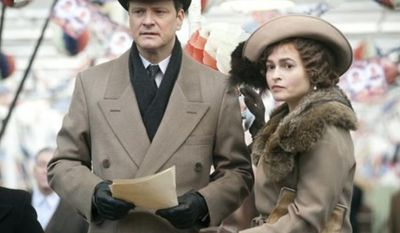 """In this film publicity image released by The Weinstein Company, Colin Firth portrays King George VI, left, and Helena Bonham Carter portrays the Queen Mother in a scene from, """"The King's Speech."""" (AP Photo/The Weinstein Company, Laurie Sparham)"""