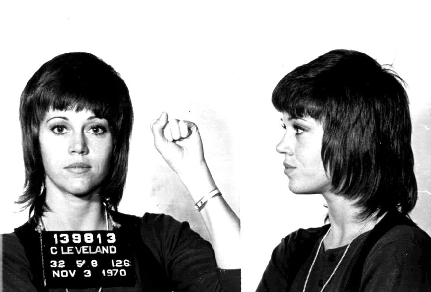 JANE FONDA - is shown in a Nov. 3, 1970 police mugshot after she was arrested for assault and battery in Cleveland, Ohio after she allegedly kicked a cop. All charges were later dropped. (AP Photo/St. Martin's Press)
