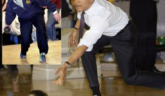 Photo illustration showing former president George W. Bush and president Barack Obama bowling.(AP Photo)