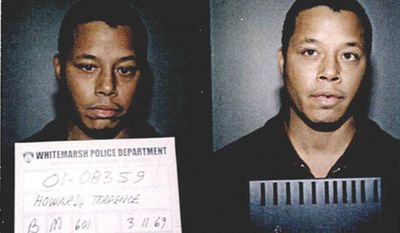 TERRENCE HOWARD -  was arrested after by Pennsylvania police for assaulting his estranged wife. According to a Whitemarsh Police Department report, Howard argued on the phone with Lori McCommas and warned her, 'Don't disrespect me by hanging up on me or I'll come over and hurt you.' After McCommas hung up and called 911, Howard went to her house, kicked in the front door, and punched the mother of his three children twice in the face. When a Whitemarsh cop responded to the scene, Howard admitted, 'I broke the door down and hit my wife.' After being charged with a variety of crimes Howard subsequently pleaded guilty in 2002 to disorderly conduct.