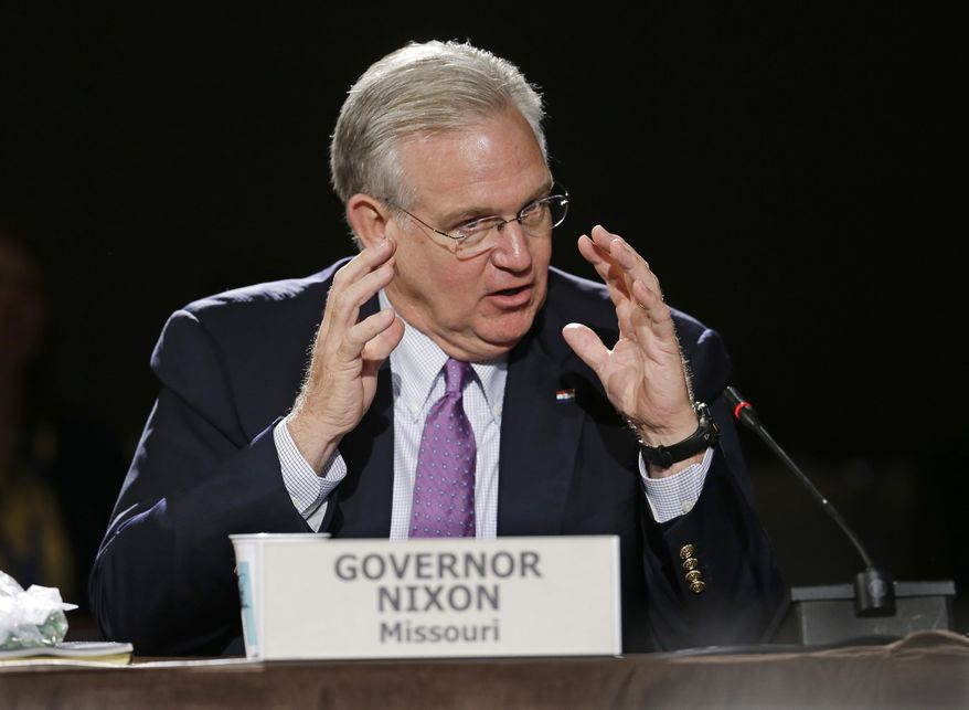 Missouri Gov. Jay Nixon speaks during a meeting on jobs and education at the National Governors Association convention Saturday, July 12, 2014, in Nashville, Tenn. (AP Photo/Mark Humphrey)