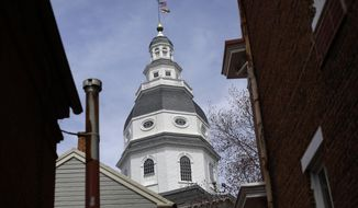 The  Maryland State House dome standing above buildings in Annapolis.  (AP Photo/Patrick Semansky)