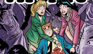 "This photo provided by Archie Comics shows the cover of the comic book, ""Life with Archie,"" issue 36. Archie Andrews will die taking a bullet for his gay best friend. The famous freckle-faced comic book icon will die in the July 16, 2014 installment of ""Life with Archie"" while intervening in the assassination of Kevin Keller, Archie Comics' first openly gay character. (AP Photo/Archie Comics)"
