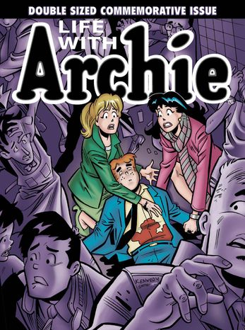 """This photo provided by Archie Comics shows the cover of the comic book, """"Life with Archie,"""" issue 36. Archie Andrews will die taking a bullet for his gay best friend. The famous freckle-faced comic book icon will"""