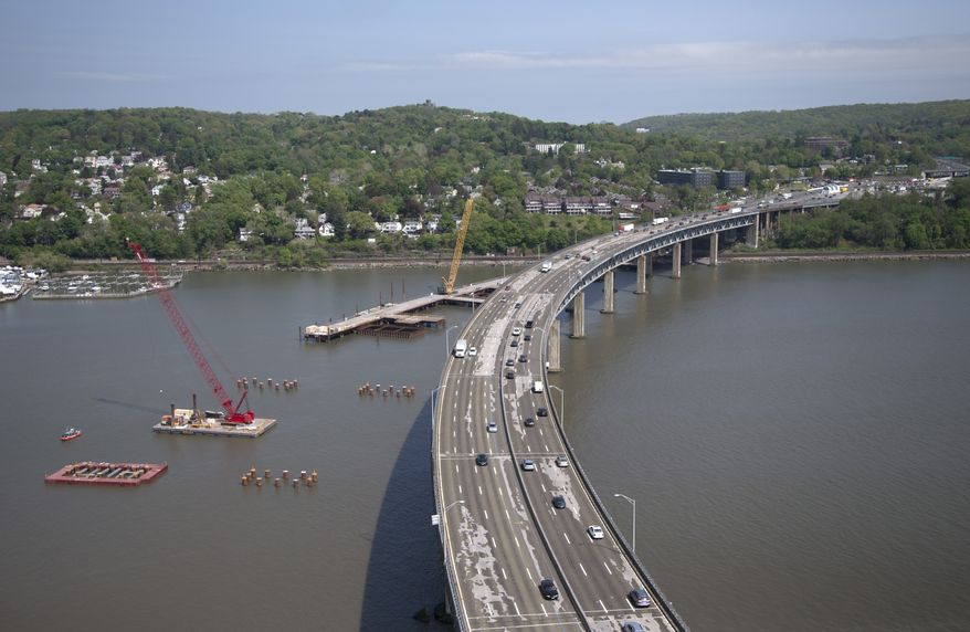 **FILE** The Tappan Zee Bridge is seen May 14, 2014, from a helicopter traveling with President Obama in Tarrytown, N.Y., where he will discuss the need for a 21st century transportation infrastructure. (Associated Press)