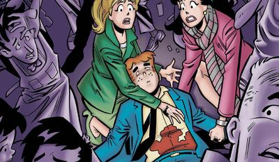 """This photo provided by Archie Comics shows the cover of the comic book, """"Life with Archie,"""" issue 36. Archie Andrews will die taking a bullet for his gay best friend. The famous freckle-faced comic book icon will die in the July 16, 2014 installment of """"Life with Archie"""" while intervening in the assassination of Kevin Keller, Archie Comics' first openly gay character. (AP Photo/Archie Comics)"""