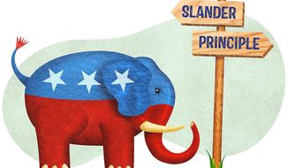 GOP Elephant Crossroads Illustration by Greg Groesch/The Washington Times