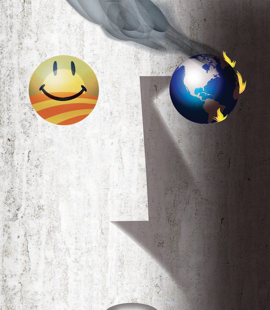 Illustration on Obama's separation from global reality by Alexander Hunter/The Washington Times