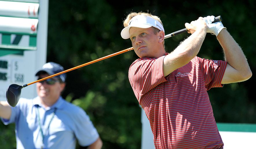 Billy Hurley III tees off on the 14th hole during the third round of the Greenbrier Classic golf tournament at the Greenbrier Resort in White Sulphur Springs, W.Va., Saturday, July 5, 2014. (AP Photo/Chris Tilley)
