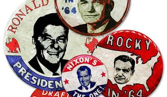 Campaign 1964 Buttons Illustration by Greg Groesch/The Washington Times