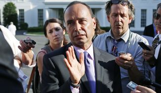 Rep. Luis Gutierrez, D-Ill., speaks to reporters after President Barack Obama and Vice President Joe Biden met with members of the Congressional Hispanic Caucus regarding immigration reform at the White House in Washington, Wednesday, July 16, 2014. (AP Photo/Charles Dharapak)