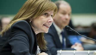 General Motors CEO Mary Barra testifies on Capitol Hill in Washington in this June 18, 2014, file photo. Barra makes her second appearance before a Senate subcommittee investigating the company's handling of a defective ignition switch in small cars on Thursday, July 17, 2014. (AP Photo/Cliff Owen, File)