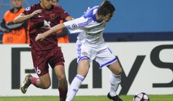 **FILE** Christian Noboa of the Russia side Rubin Kazan challenges Artem Milevskiy (right) of Ukraine's Dynamo Kiev during their Group F Champions League soccer match in Kiev on Sept. 16, 2009. (Associated Press)