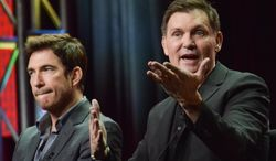 """Dylan McDermott, left, and Kevin Williamson speak on stage during the """"Stalker"""" panel at the CBS 2014 Summer TCA  held at the Beverly Hilton Hotel on Thursday, July 17, 2014, in Beverly Hills, Calif. (Photo by Richard Shotwell/Invision/AP)"""