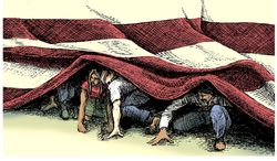 Illustration on the influx of illegal alins on the southern border by Tim Brinton