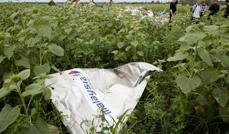"""A piece of a plane with the sign """"Malaysia Airlines"""" lies in the grass as a group of Ukrainian coal miners search the site of a crashed Malaysian passenger plane near the village of Rozsypne, Ukraine, eastern Ukraine Friday, July 18, 2014. Rescue workers, policemen and even off-duty coal miners were combing a sprawling area in eastern Ukraine near the Russian border where the Malaysian plane ended up in burning pieces Thursday, killing all 298 aboard. (AP Photo/Dmitry Lovetsky)"""