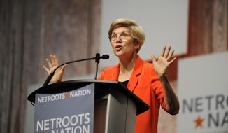 U.S. Sen. Elizabeth Warren, D-Mass., addresses the crowd during her appearance at the Netroots Nation conference in Detroit, Friday, July 18, 2014. Warren has captured the hearts of Democratic activists beginning to think about an heir to President Barack Obama. But their minds tell them that Hillary Rodham Clinton could help them hang onto the White House. (AP Photo/Detroit News, David Coates)  DETROIT FREE PRESS OUT; HUFFINGTON POST OUT