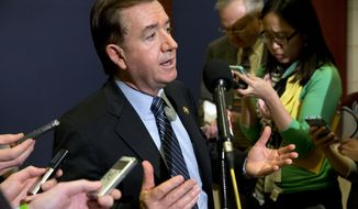 ** FILE ** This March 11, 2014, file photo shows Rep. Ed Royce, R-Calif., chairman of the House Foreign Affairs Committee, speaking to reporters after an all-member classified briefing on Ukraine on Capitol Hill in Washington. (AP Photo/Jacquelyn Martin, File)