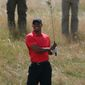 Tiger Woods of the US plays out of the rough on the 12th hole during the final round of the British Open Golf championship at the Royal Liverpool golf club, Hoylake, England, Sunday July 20, 2014. (AP Photo/Jon Super)