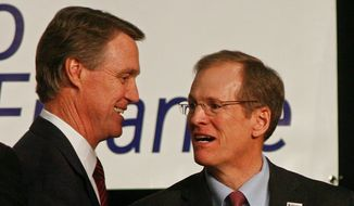 Georgia businessman David Perdue (left) faces off against Rep. Jack Kingston, Georgia Republican, in Tuesday's Republican primary runoff in Georgia to see who will take on Democrat Michelle Nunn in December in a battle for retiring Republican Sen. Saxby Chambliss' hotly contested seat. (Associated press)