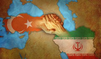 Turkey Iran Handshake Illustration by Greg Groesch/The Washington Times