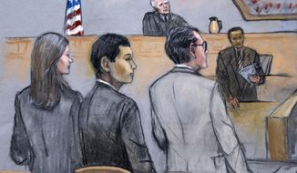 In this courtroom sketch, defendant Azamat Tazhayakov, foreground center, a college friend of Boston Marathon bombing suspect Dzhokhar Tsarnaev, is stands between his attorneys as the verdict is read in his federal trial in this Monday, July 21, 2014, file photo, in Boston. Tazhayakov, of Kazakhstan, was convicted of obstruction of justice and conspiracy, impeding the investigation into the bombing. Prosecutors said he agreed with a plan by another friend, Dias Kadyrbayev, to remove Tsarnaev's backpack containing altered fireworks from his dorm room a few days after the 2013 bombings. (AP Photo/Jane Flavell Collins)