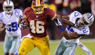 The biggest change for running back Alfred Morris will come as the Redskins move from the zone-blocking scheme run under the Shanahans the last four years to incorporating more of a power game this season. (The WASHINGTON TIMES)