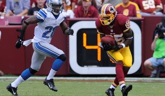 Receiver Leonard Hankerson is still recovering from a torn ACL in his left knee. (The Washington Times)