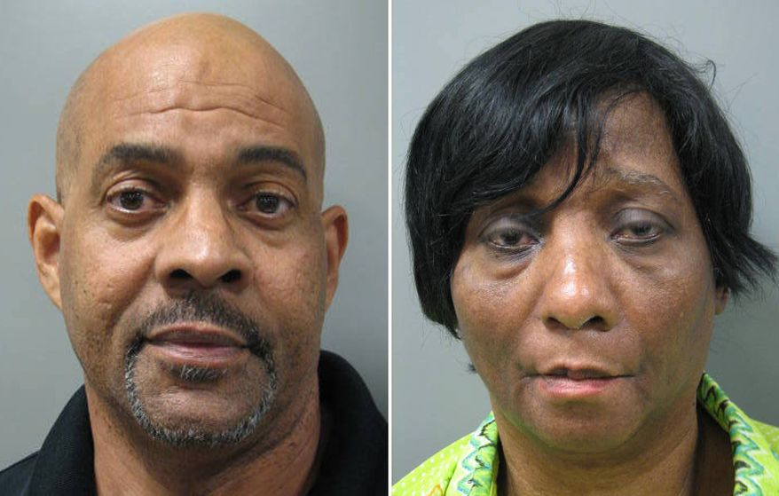 This combination made with booking photos provided by the Montgomery County, Md. Police shows John Land, left, and his wife, Janice Land. The couple allegedly kept their autistic, twin adult sons locked up at night in small basement room with no furniture or electricity in their Rockville, Md., home. (AP Photo/Montgomery County Police)