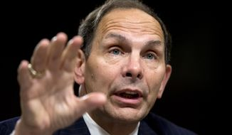 Veterans Affairs Secretary nominee Robert McDonald of Ohio testifies before a Senate Veterans' Affairs Committee hearings to examine his nomination to be Secretary of Veterans Affairs on Capitol Hill in Washington, Tuesday, July 22, 2014.  (AP Photo)