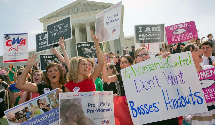 "** FILE ** Democrats doubled down on the ""war on women"" meme after the Supreme Court's Hobby Lobby decision, which allowed the company's religious owners to exclude four of the 20 birth-control methods required under Obamacare. (Associated Press)"