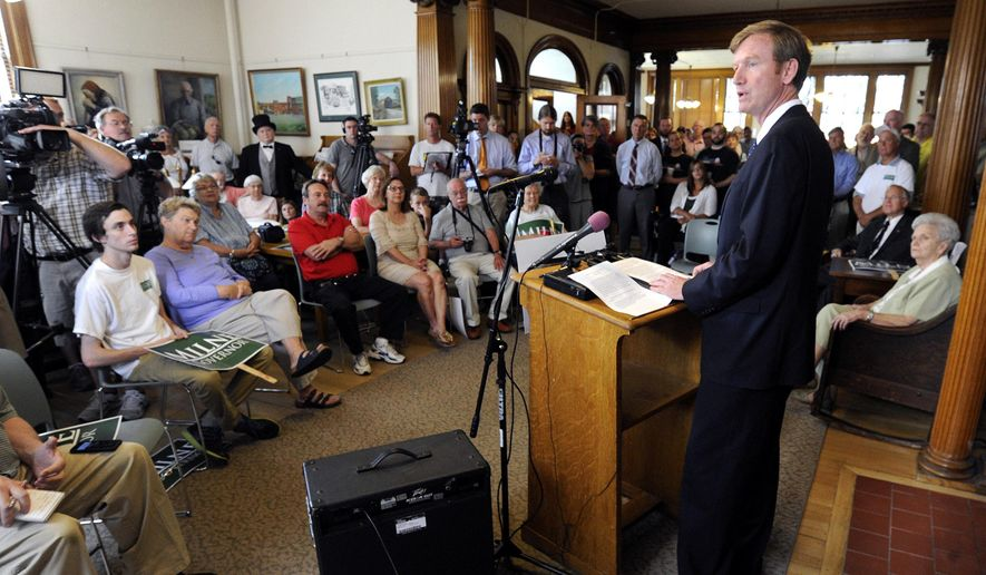 Republican Scott Milne formally launches his campaign for Vermont governor during a news conference at the Aldrich Public Library in Barre, Vt., on Wednesday, July 23, 2014. Milne faces Emily Peyton and Steve Berry in the state's Republican primary on Aug. 26. (AP Photo/The Times Argus, Jeb Wallace-Brodeur)