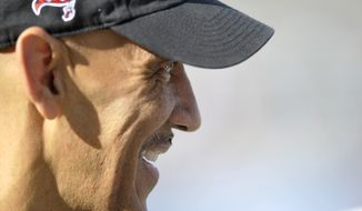 Former NFL head coach Tony Dungy during the Pro Football Hall of Fame exhibition NFL football game between the Dallas Cowboys and the Miami Dolphins Sunday, Aug. 4, 2013, in Canton, Ohio. The Cowboys defeated the Dolphins, 24-20. (AP Photo/David Richard)