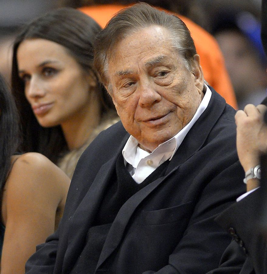 FILE - In this Oct. 25, 2013, file photo, Los Angeles Clippers owner Donald Sterling attends a Clippers game against the Sacramento Kings in Los Angeles. With the potentially record-breaking $2 billion sale of the Los Angeles Clippers hanging in the balance, a trial beginning Monday, Juloy 7, 2014,  will focus on whether Donald Sterling's estranged wife had the authority under terms of a family trust to unilaterally negotiate the deal.  Shelly Sterling struck a deal to sell the Clippers to former Microsoft CEO Steve Ballmer after Donald Sterling's racist remarks to a girlfriend were publicized and the NBA moved to oust him as team owner.  (AP Photo/Mark J. Terrill, File)