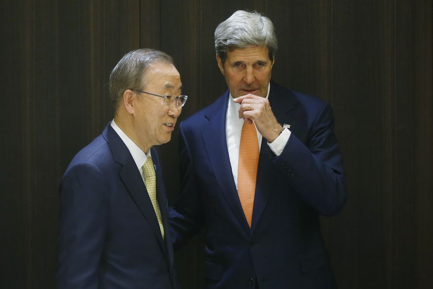 U.S. Secretary of State John Kerry meets with U.N. Secretary-General Ban Ki-moon in Jerusalem, Wednesday, July 23, 2014. Kerry is meeting with Ban, Israeli Prime Minister Benjamin Netanyahu, and Palestinian Authority President Mahmoud Abbas as efforts for a cease-fire between Hamas and Israel continues. (AP Photo/Pool)