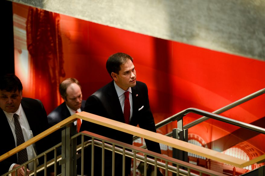 """Sen. Marco Rubio, (R-Fla.) arrives before speaking at an event entitled, """"Strong Values for a Strong America"""" focusing on America's family issues at the Edward J. Pryzbyla University Center at Catholic University, Washington, D.C., Wednesday, July 23, 2014. (Andrew Harnik/The Washington Times)"""