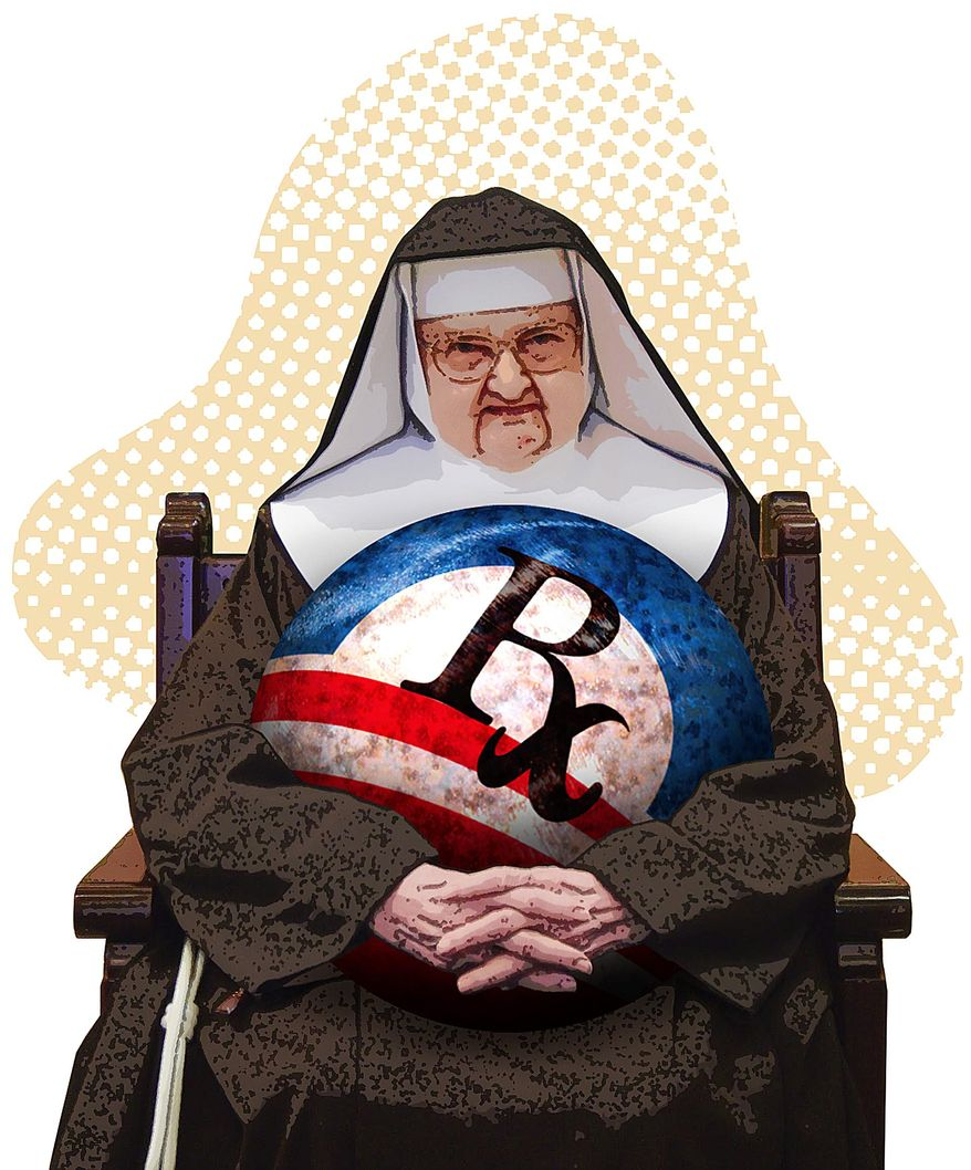 Mother Angelica Obamacare Illustration by Greg Groesch/The Washington Times