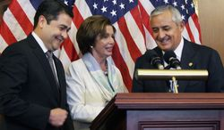 House Minority Leader Nancy Pelosi, California Democrat, meets with Guatemalan President Otto Perez Molina (right) and Honduran President Juan Orlando Hernandez on Thursday. Mr. Hernandez said ambiguity in Washington's immigration debate has helped human smugglers convince Central Americans that they can stay in the U.S. if they make the long, illegal journey. (Associated Press)
