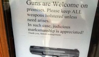 Shiloh Brew and Chew, a restaurant in Tennessee, has posted several signs on doors at the establishment welcoming gun-carrying patrons.